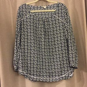 J. Crew like new Navy and white blouse.